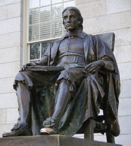 """Known as the """"Statue of the three lies,"""" as this was designed after Sherman Hoar, Harvard was a benefactor (not founder) of the school, and Harvard was actually founded in 1636"""