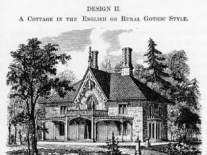 This image shows one of Andrew Jackson Downing's designs for a house in the romantic suburbs. Note the similarities between its landscape setting and the landscape of Mount Auburn. Image courtesy of Travel Studies.
